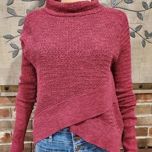 FREW PEOPLE Red Knit High Low Sweater Size Medium